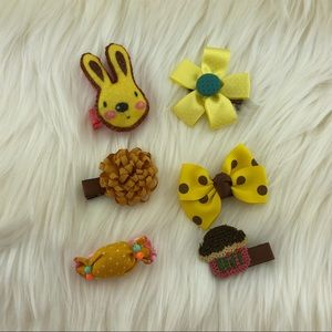 Other - Cute Yellow/Brown Head bow clips, 6 pieces